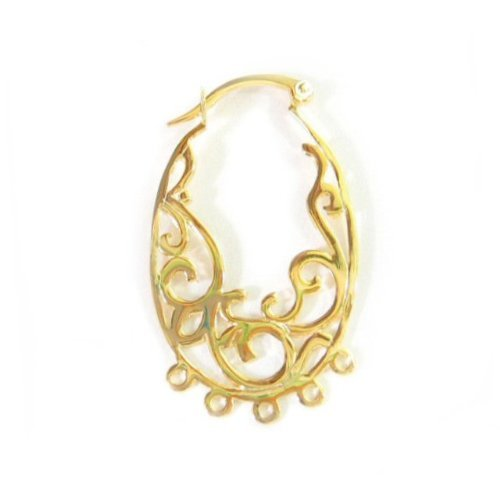 2 pcs Gold on .925 Sterling Silver Filigree Flower Chandelier Hoop Earring Connector/Findings/Yellow Gold