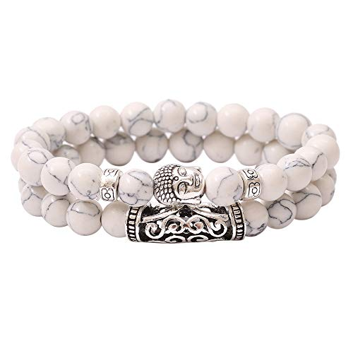 Men Women Vintage Healing Reiki Buddha Head Pattern Beaded Copper Tube 5-8mm Natural Stone Beaded Stretchy Bracelet Jewlery (White)