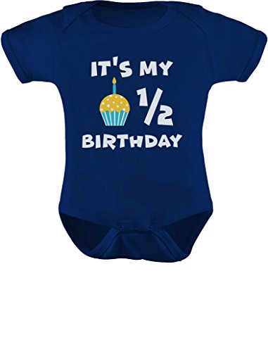 Tstars - It's My Half Birthday Outfit for Baby 1/2 Birthday Gift Baby Bodysuit 6M (3-6M) Navy