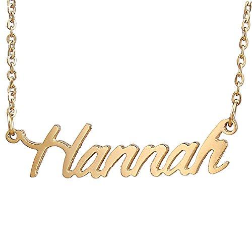 HUAN XUN Gold Plated Cursive Name Necklace, (Gold Plated Name Necklace)