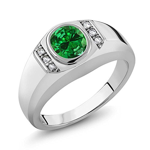 Gem Stone King 2.16 Ct Green Simulated Emerald White Created Sapphire 925 Sterling Silver Men