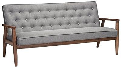 Baxton Studio Sorrento Mid-Century Retro Modern Fabric Upholstered Wooden 3-Seater Sofa