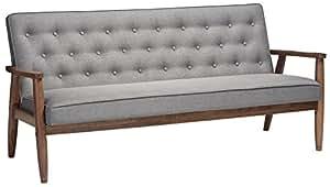 Baxton Studio Sorrento Mid-Century Retro Modern Fabric Upholstered Wooden 3-Seater Sofa, Grey