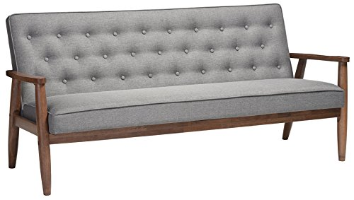 Baxton Studio Sorrento Mid-Century Retro Modern Fabric Upholstered Wooden 3-Seater Sofa, Grey (Retro Modern)