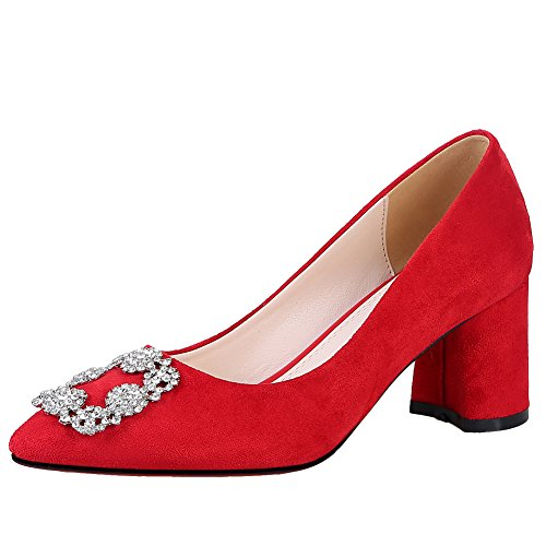 Latasa Womens Pointed-toe Mid Heel Pumps Red g55tV