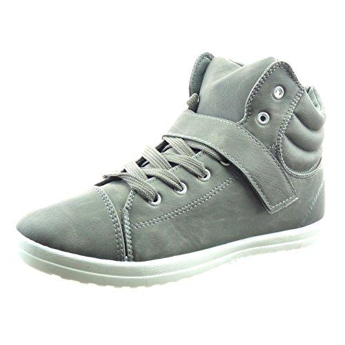 Sopily - Scarpe da Moda Sneaker donna finitura cuciture impunture Tacco a blocco 2 CM - Grigio