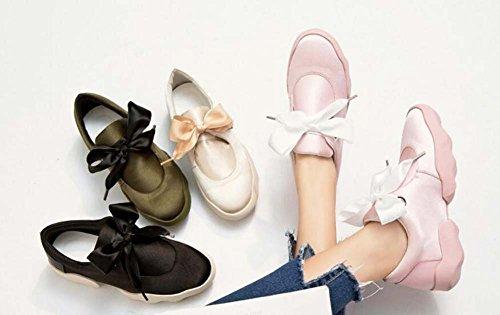 Perezoso Estudiante Zapatillas Snakers Zapatos Bowknot Zapatos Eu Otoño Color Los De De Nuevo Siz Deportivos 34 Tamaño Satén Pajarita Redondo Bomba Toe Flat Mujer Color Pink Paño 2017 Puro De 40 UTxaWdn