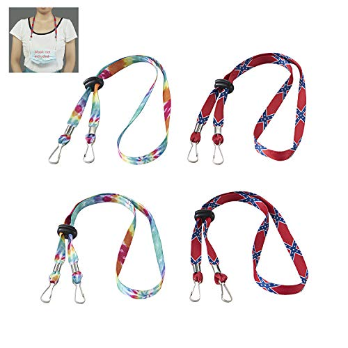 Caishenyeah Adult Children Adjustable Face Masks Clips Lanyards Safety Holders Hangers Around The Neck Lace Strap holder Face Masks for Women Men Kids Head Ear Masks Saver Lanyard with Clasps(color4)