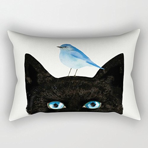 Nextchange Black Cat Sapphire Eyes And Blue Bird Cotton Rectangular Pillowcase Decoration For Sofa Bed Chair Car (Two Sides) Pillow Cover Size 12x20 IN