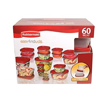 Rubbermaid 60-Piece Easy Find Lid Food Storage Container Set, Red