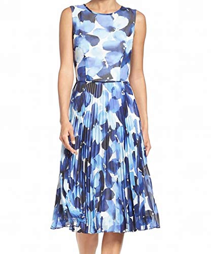 - Maggy London White Womens Pleated Chiffon A-Line Dress Blue 8