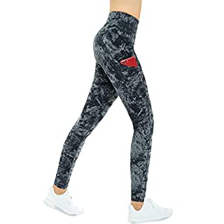 THE GYM PEOPLE Thick High Waist Yoga Pants with Pockets, Tummy Control Workout Running Yoga Leggings for Women (X-Large, Gray-Marble)