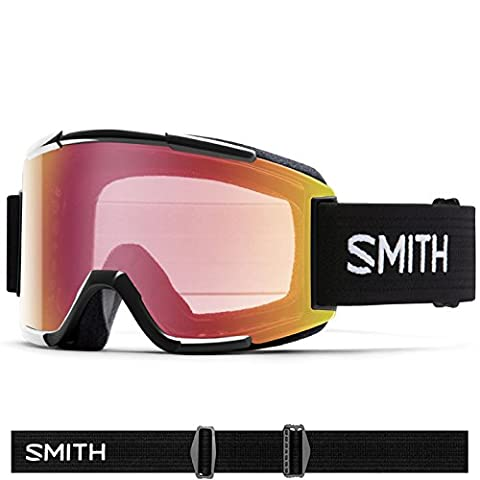 Smith Optics Squad Adult Cylindrical Series Snow Snowmobile Goggles Eyewear - Black/Red Sensor Mirror / - Parts Unlimited Snowmobile