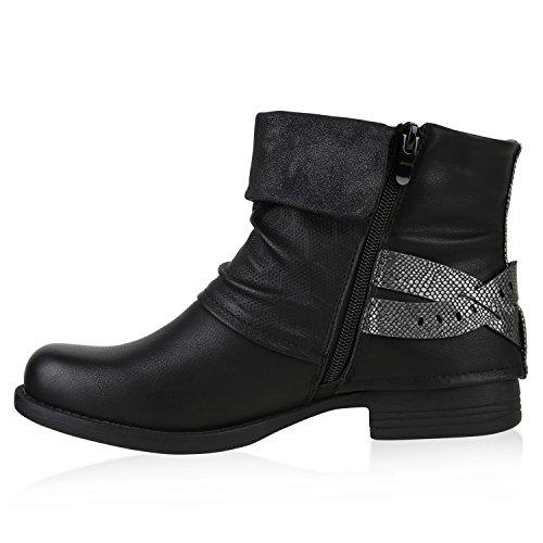 Stiefelparadies - botas estilo motero Mujer negro/plateado