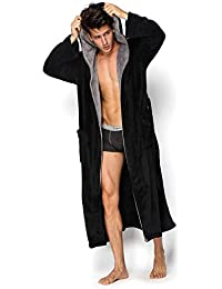 Hooded Herringbone Men s Black Soft Spa Full Length Warm Bathrobe With Grey  Kimono Shawl Collar 77f717d9e