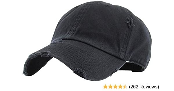 99fa6e603d7 Amazon.com  KBETHOS Vintage Washed Distressed Cotton Dad Hat Baseball Cap  Adjustable Polo Trucker Unisex Style Headwear (Vintage Pigment) Black  Adjustable  ...