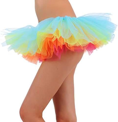 Tutu Skirt for Women Tulle 5 Layered Ballerina Dancer Tutu Mini Skirt