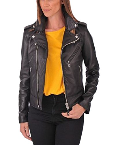 Leather Donna Junction Leather Junction Giacca Nero qwRZS8xq