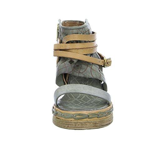 As98 Sandalo Donna 611007 Con Zeppa Plateau Ritaglio In Pelle Con Cerniera Verde Marrone