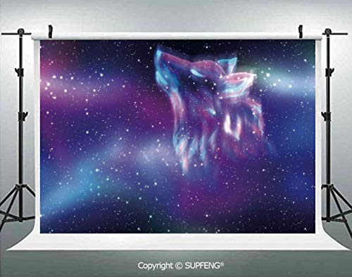 Photo Backdrop Psychedelic Northern Starry Sky with Spirit of A Wolf Aurora Borealis Display 3D Backdrops for Interior Decoration Photo Studio Props]()