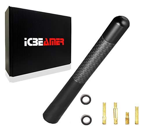ICBEAMER 5″ 127 mm Aluminum Matte Black w/Carbon Fiber Universal AM/FM Radio Antenna Replacement