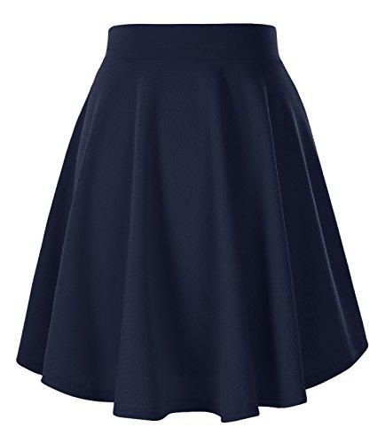 Jupe Bleu Midi Marine Court GoCo Urban Basique Rtro Femmes Elastique Plisse longue Patineuse Fille Jupe ntvWv71Hz