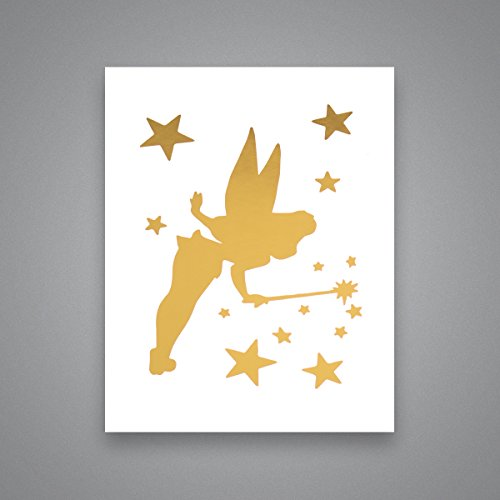 Tinkerbell Silhouette - Gold Foil Art Print- Inspirational Quote Modern Wall Art - 8 inches x 10 inches (Tinkerbell Silhouette)