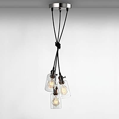 Pathson Industrial Factory Mini Downlight with 3 Head in Clear Glass Shade Design Vintage Simple Home Ceiling Light Fixture Flush Mount with Adjustable Textile Cord Pendant Cluster Light