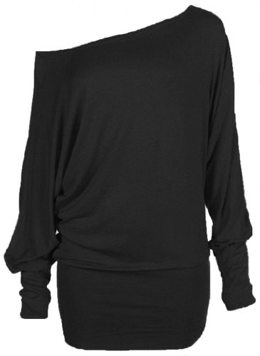 Hot Hanger Womens PLUS SIZE Batwing Top Plain Long Sleeve Off Shoulder Big Size Tshirt Top 16-26 (24-26 XXXL, Black) (T-shirts Jumpers)