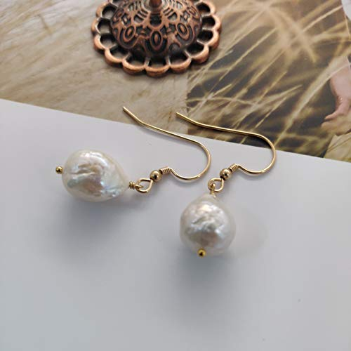 Pearl Baroque Freshwater - Diameter 9-11mm Height 12-14mm Natural Freshwater Baroque Pearl 14K Gold Filled Earrings Hook Wiring Jewelry For Wedding Bride Bridesmaid
