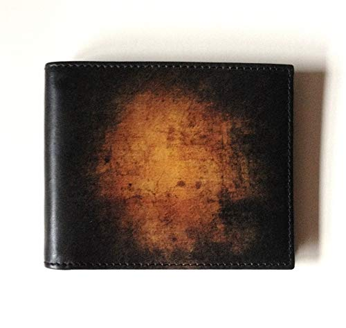 Men's Leather WALLET with ABSTRACT ART Bill Fold with Dark Art Genuine Leather