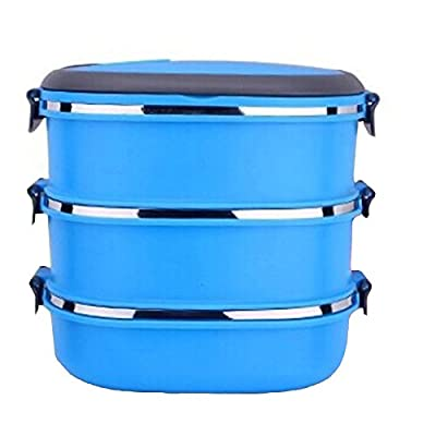COFFLED Three Layers Stainless Steel Bento Lunch Box,Premium Leak-proof Portable Food Storage Container,Perfect Super-easy-carrying Bento Box with Super High Quality for Students&Adults(Blue Color)