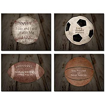 8a7e74c2aa270 Kreative Arts Inspirational Sports Quotes Prints Wall Art Canvas Set of 4  Vintage Posters Stretched Baseball Basketball Soccer Football Photos Great  ...