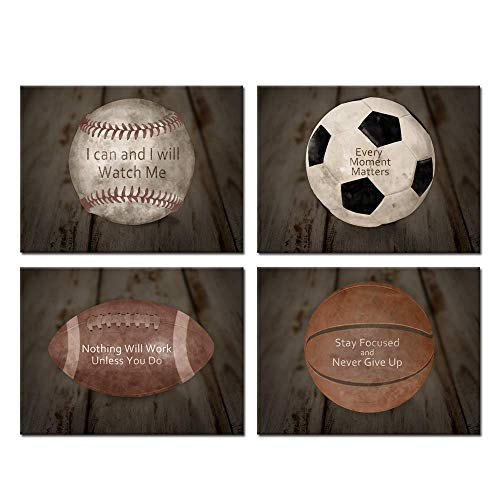(Kreative Arts Inspirational Sports Quotes Prints Wall Art Canvas Set of 4 Vintage Posters Stretched Baseball Basketball Soccer Football Photos Great Gift for Boy's Room Decor Ready to Hang)