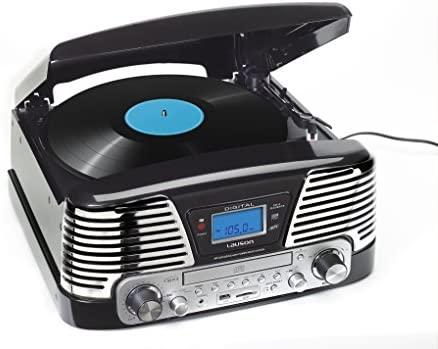 Lauson CL139 - Tocadiscos para equipo de audio, AM/FM radio, entrada de tarjeta USB, función para grabación, color negro