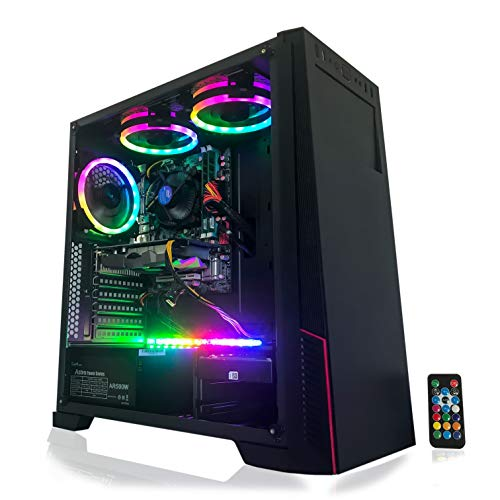 Gaming PC Desktop Computer Intel i5 3.10GHz,8GB Ram,1TB Hard Drive,Windows 10 pro,WiFi Ready,Video Card Nvidia GTX 650 1GB, 3 RGB Fans with Remote