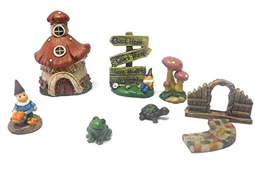 MayRich Set of 7 Fairy Garden Accessories (Gnome Sign Post)