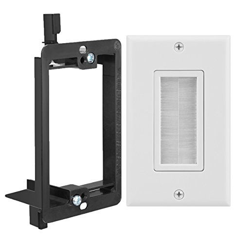 Brackets Rub - Fosmon Single Gang Wall Plate 2 Piece, Brush Style Opening Passthrough Cable Plate with Low Voltage Mounting Bracket