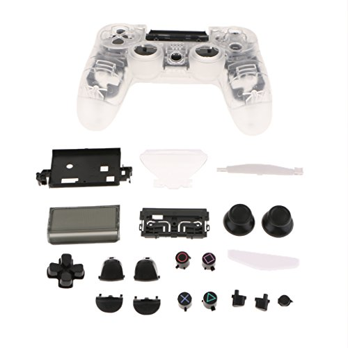 SM SunniMix Replacement Full Housing Set Cover Protective Skin Faceplate + Matching Button Kit for Sony PS4 Controllers