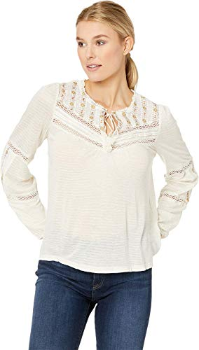 Lucky Brand Women's Embroidered Peasant TOP, Natural, L