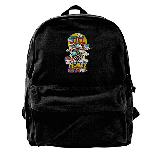 (AiguanLucky Cat Performance Black Canvas Backpack)
