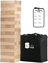 Medium Tower Game Wooden Stacking Games Outdoor Games for Adults and Family Lawn Games - Includes Rules and Ca