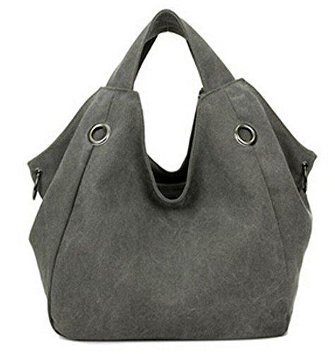 Ecokaki(TM) Casual Canvas Shoulder Large Capacity Casual Hobo Style Tote Bag Handbag Travel Bag, Grey by Ecokaki