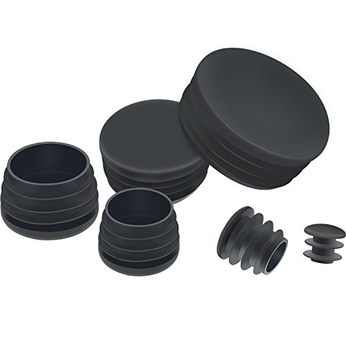 (TecUnite 60 Pieces Mixed Sizes Black Round Plastic Plugs, Glide Insert End Caps for Chair Table Stool Leg, Tube Pipe Hole Plug Assortment)