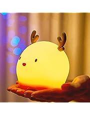 MOMSIV lampka nocna dla niemowląt, przenośna lampka nocna LED dla dzieci wielokolorowa silikonowa lampa jeleń, czułe sterowanie dotykowe dla dzieci dorosłych sypialnia z ciepłym światłem i 7-kolorowymi trybami oddychania