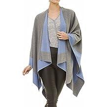 Cardigan Poncho Cape: Women Elegant Gray Cardigan Shawl Wrap Sweater Coat for Winter