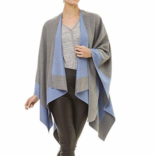 Cashmere Sweater Coat - Cardigan Poncho Cape: Women Elegant Gray Blue Reversible Cardigan Shawl Wrap Sweater Coat for Winter (Gray Blue)