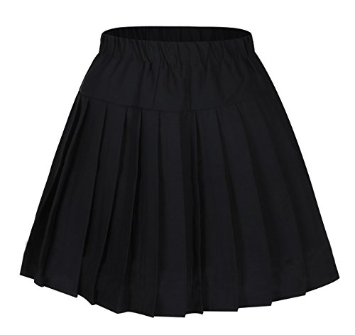 Women`s Back to School Elasticated Strechy Pleated Skirt (L, Black) -