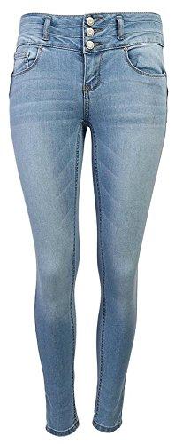 Wax Women's Juniors Body Flattering Mid Rise Skinny Jeans Light Blue 9