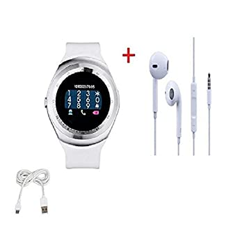 b639d1b56d6 Smart Watch Y1 Bluetooth Phone Mate Sim Card Round Touch Screen for iOS  Android(White) and offering Earphone  Amazon.in  Computers   Accessories